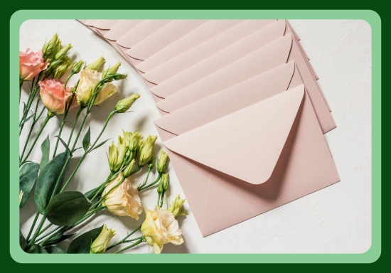 flowers_and_envelopes_on_white_background